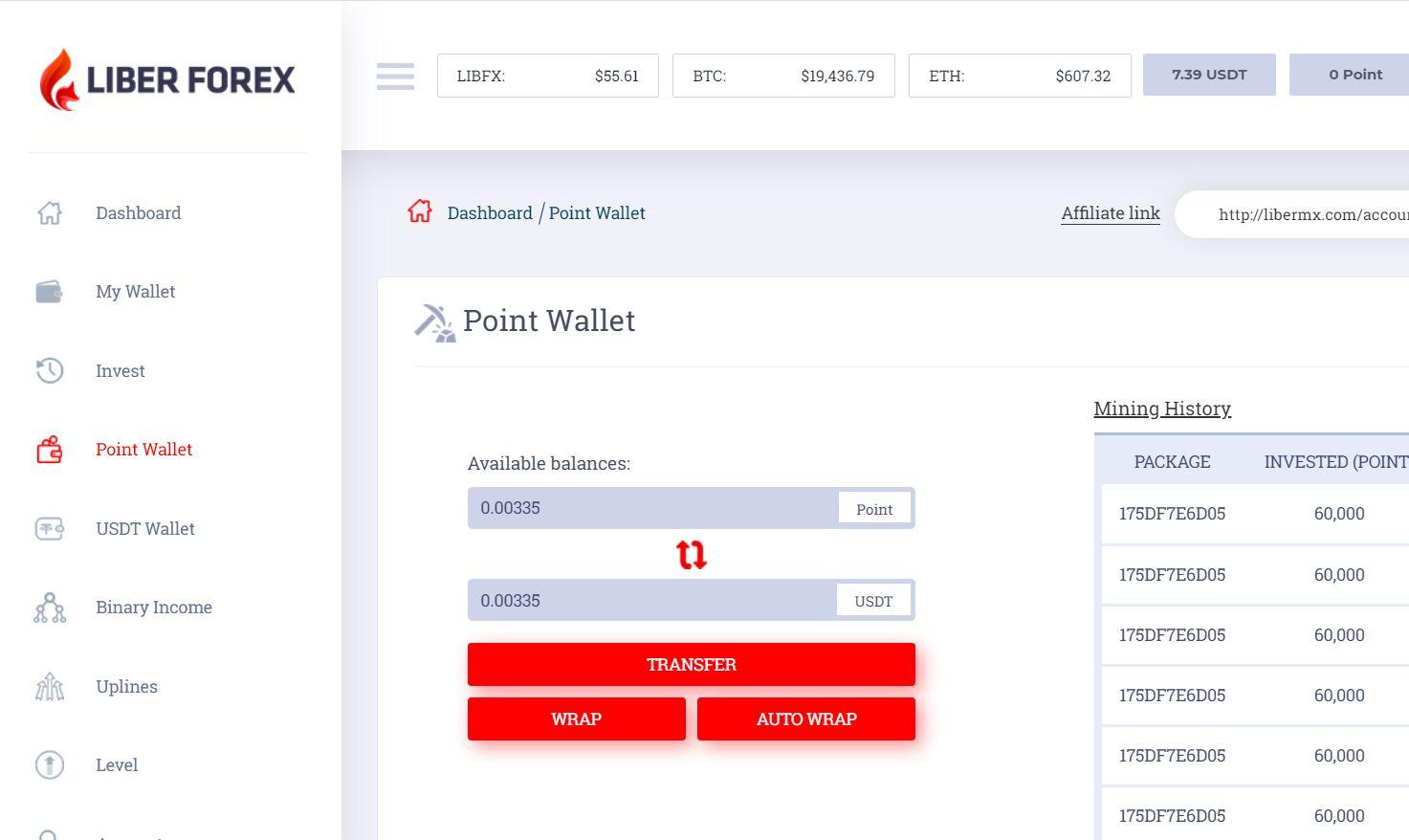 Hướng dẫn rút tiền USDT trên LiberMX